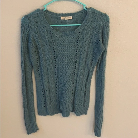 Pink Rose Sweaters - Teal cable knit sweater
